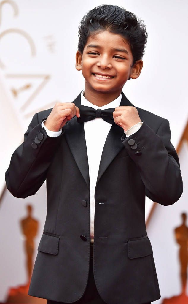 Sunny Pawar from 2017 Oscars: All-Access  The littlest Lion star straightens his bow tie as he smiles for the cameras on the red carpet.