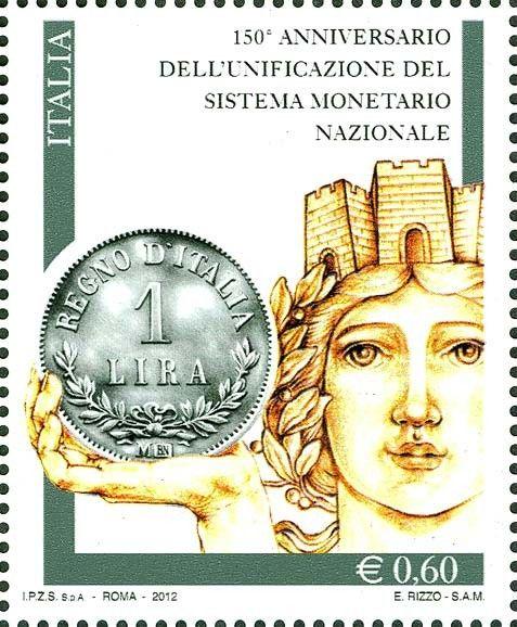 """Sello: 150 Anniversaty of italian """"LIRA"""" (Italia) Mi:IT 3504,Yt:IT 3265,Un:IT 3347"""