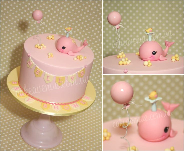 Whale themed cake. Cute Whale Topper. Pink and Yellow Cake.