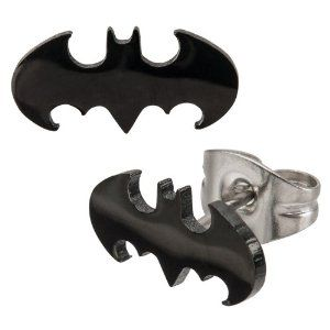 Batman Ear-Rings - Pierced & Modified - Pair of Surgical Steel Earrings - Bat Symbol Shape - Official Merchandise!: Amazon.co.uk: Jewellery