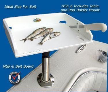 """Deep Blue Fillet Table - MSK-6 Bait - 14"""" x 10"""" for your boat or dock. Includes Rod Holder Mount. 100% Marine-Grade Polymer."""