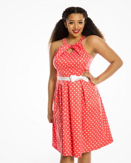 6310a7ff1445 Cherel' 1950s Inspired Occasion Dress in Coral Pink Polka Dots   All ...