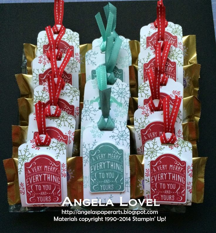 Chocolate Treat Wrap Tags made using the Stampin' Up! Merry Everything Stamp Set…
