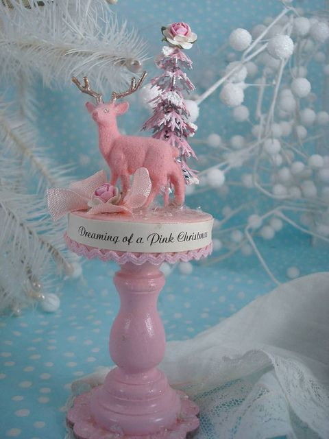 #pink #kitsch #vintage #decorations #decor #fawn #deer #cute #Christmas #holidays #winter #beautiful #shabby #chic