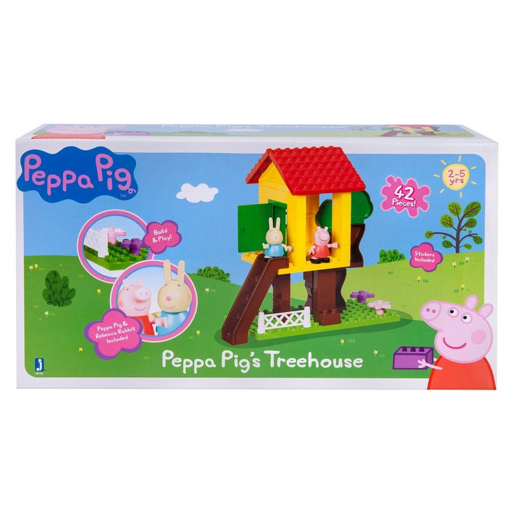 Only girls allowed in Peppa's Treehouse! Peppa Pig and Rebecca Rabbit are having lots of fun in their treetop playhouse. This 42-piece set includes stickers to decorate your set and two figures, to complete your playground adventure!