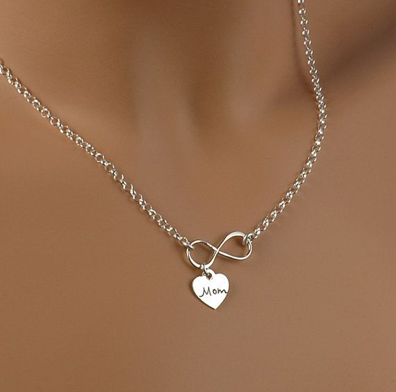 Infinity Necklace with heart charm - Mom - Infinate Love - Solid Sterling Silver .925 on Etsy, $30.54 CAD