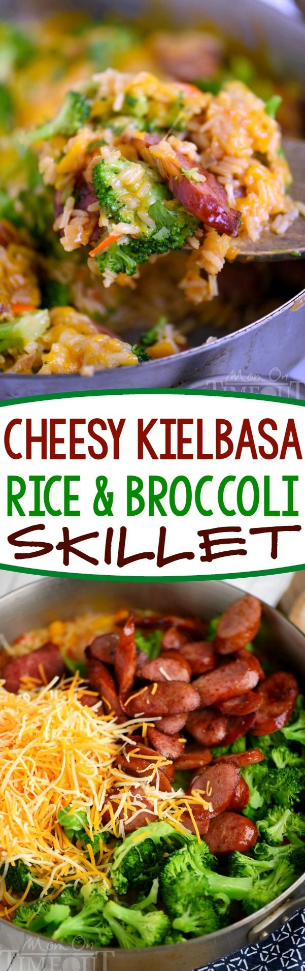 Cheesy Kielbasa, Rice and Broccoli Skillet - your new favorite dinner! This easy skillet recipe comes together in a flash and is made in a single skillet for easy clean-up. Extra cheesy, and just bursting with flavor, it's a dinner recipe you'll find yourself making again and again. // Mom On Timeout