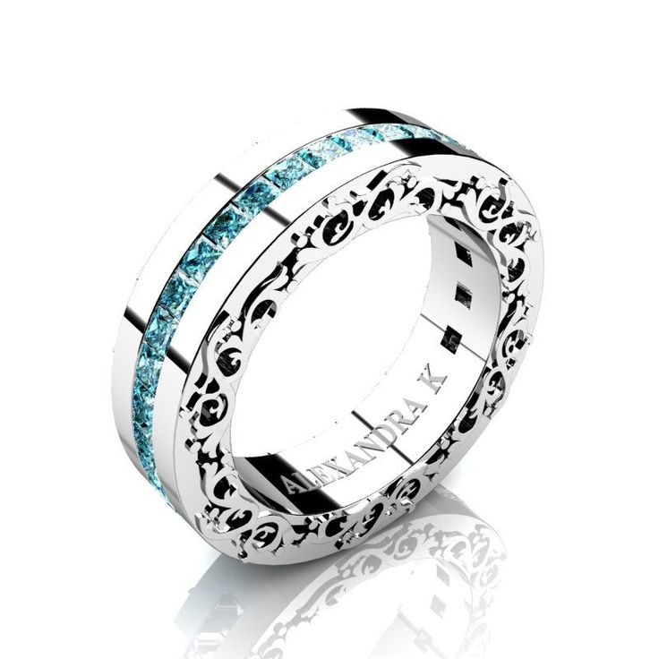 Modern Art Nouveau 14K White Gold Channel Princess Blue Diamond Wedding Ring A1005-14KWGBLD | ALEXANDRA K