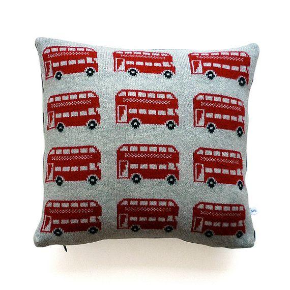 lambswool London Bus Cushion von SallyNencini auf Etsy