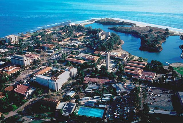 University of California, Santa Barbara. Got my BA degree from here. It is actually a miracle I graduated considering how hard it was to go to class and not go hang out at the beach!