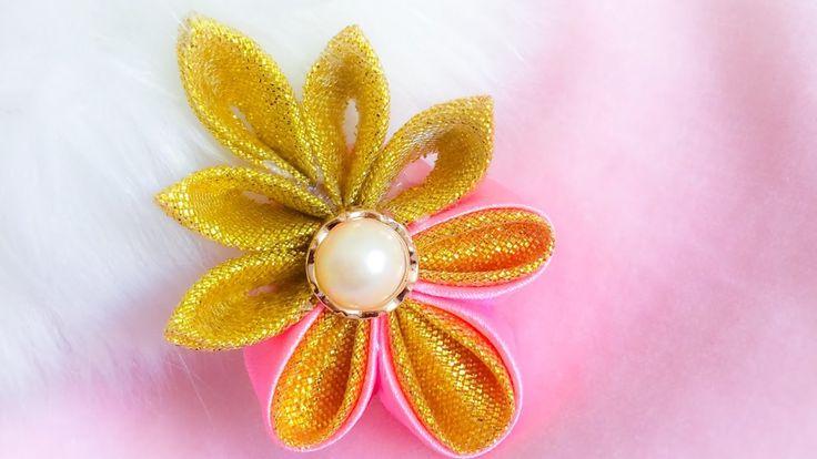 DIY: Kanzashi ribbon brooch/ hair clip