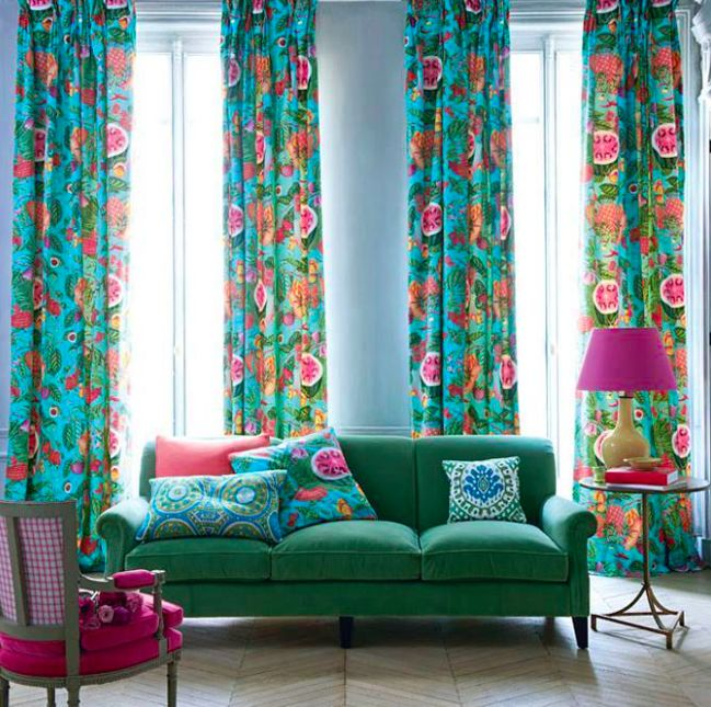 Colorful Living Room Curtains: Love The Sofa And Cushions And Lamp, Not Crazy About