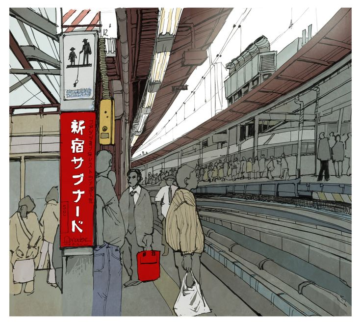 Digital drawing - metro somewhere in a Japanese suburb. Fun with grey tones and a red highlight.