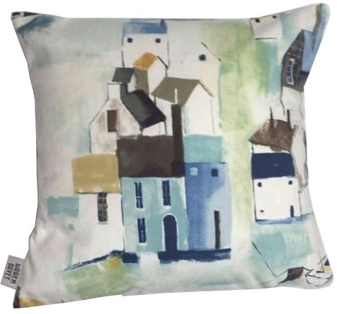 The St Ives Watercolour Cushion is inspired by the huge number of artists who live and visit the Cornish harbour. Handmade in Cornwall by Karen Davey.