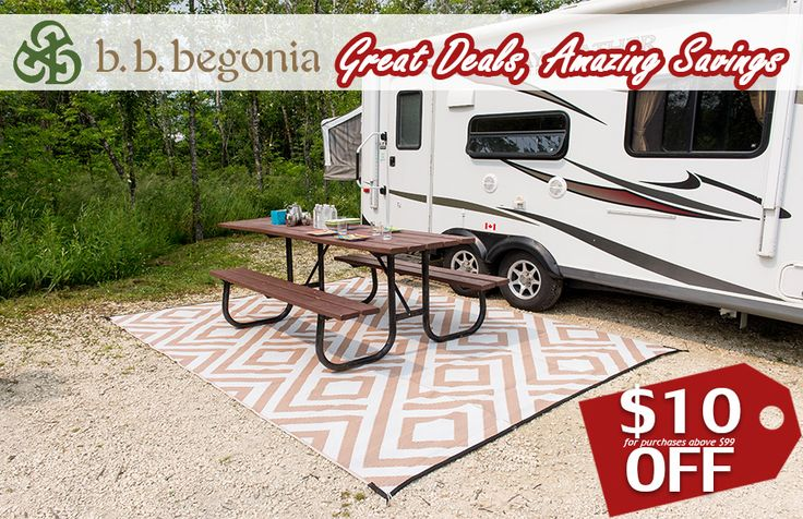Time is ticking! Get $10 OFF for purchases above $99. Get $20 OFF for purchases above $199. Discount applies to Outdoor Rugs, RV Mats, and our Reusable Shopping Bags. Hurry and visit bbbegonia.com! Order now!