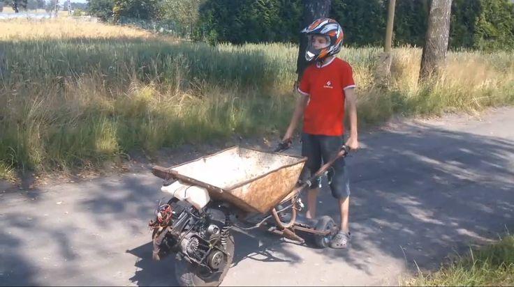 Boy Rides a DIY Gas-Powered Wheelbarrow