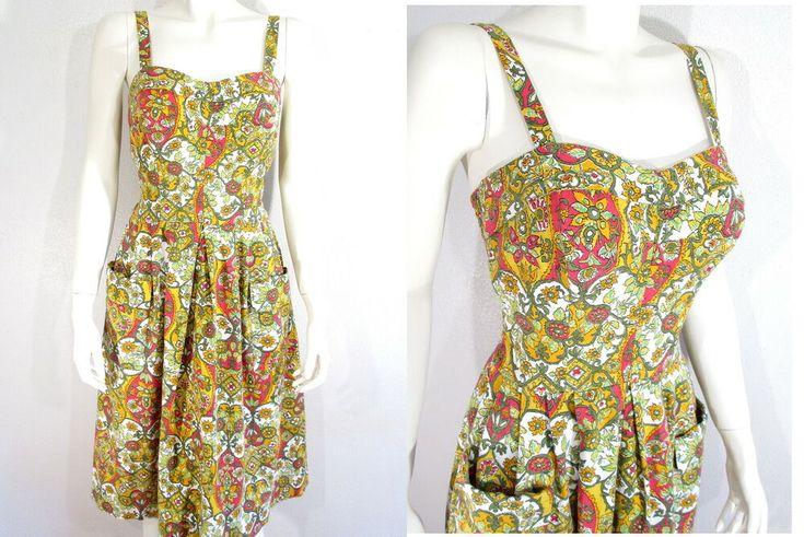 1950's CATALINA SUNDRESS 50s Pin Up Rockabilly Dress Sarong Tiki Atomic Hawaiian…