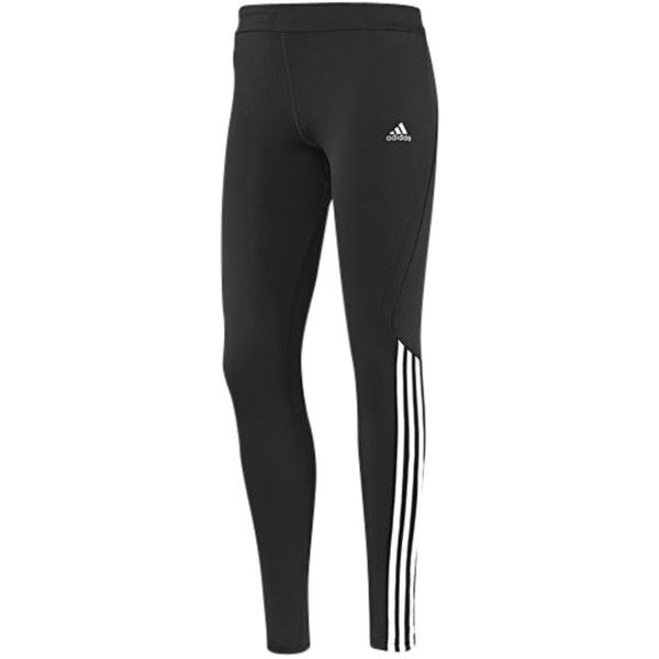 Adidas Response Long Running Tights, Black/White ($43) ❤ liked on Polyvore featuring activewear, activewear pants, pants, bottoms, adidas, sport, pantalon, adidas activewear and adidas sportswear