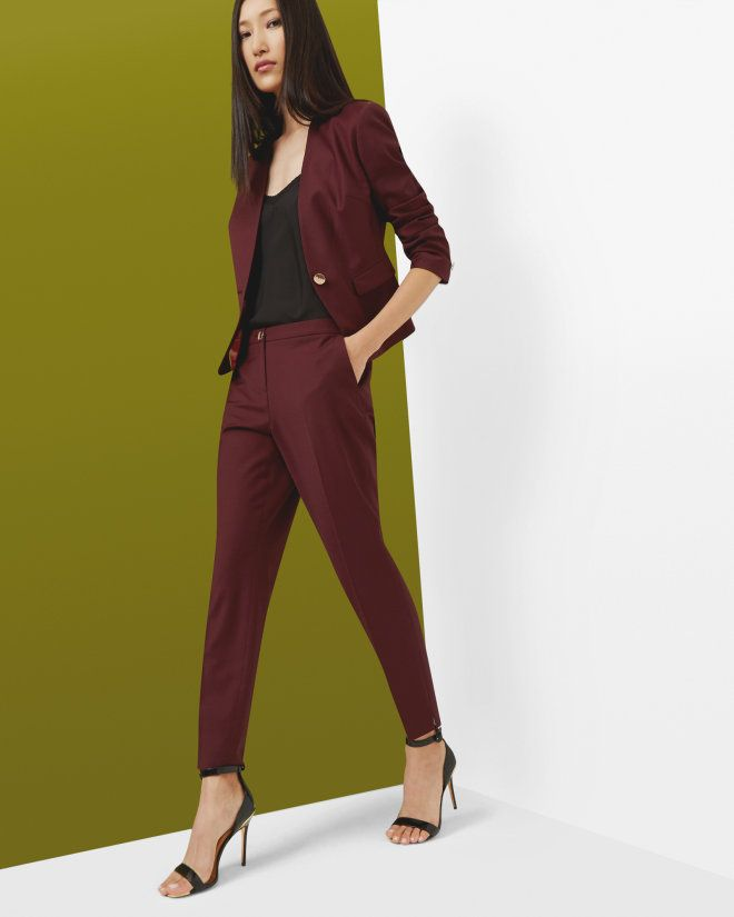 Straight leg tailored trousers - Oxblood   Tailoring   Ted Baker UK