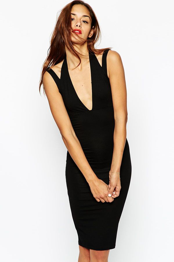 $13.16 Buy Cheap Midi Bodycon Dress with Plunge Neck at Online Shop http://en.modebuy.com @modebuyshop #modebuyshop @modebuy #modebuy #Black  #dress #me #cute #out #art #so #commentbackteam
