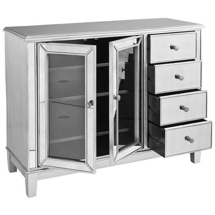 Inspired by Hollywood glamour, yet as practical as we can make it—our Hayworth TV Stand is all about functional fashion. It's crafted of sturdy hardwoods, covered with beveled mirrors and hand-finished. With loads of storage space, including four drawers and a classic cabinet with three adjustable shelves, there's real star potential here.