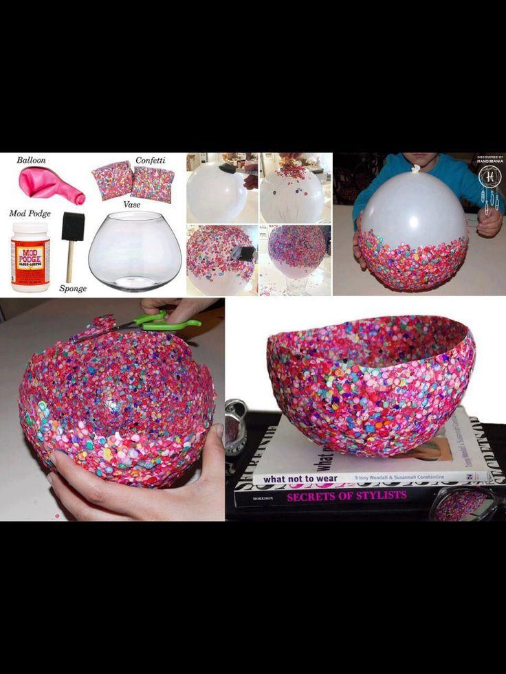 Cover balloon with modge podge, cover in layers of confetti, seal with mod podge, pop balloon, cut and ta-da! diy confetti vase!