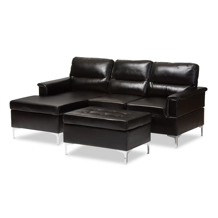 baxton studio kinsley modern and faux leather upholstered 3 piece sectional sofa and ottoman small set black
