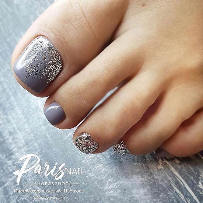 Luxuriöse graue Farbe für Zehennägel #toenaildesigns