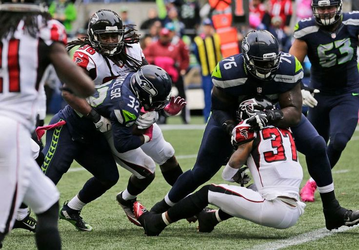 Falcons vs. Seahawks:    October 16, 2016  -  26-24, Seahawks  -    Seattle Seahawks running back Christine Michael (32) powers through a tackle attempt by Atlanta Falcons strong safety Kemal Ishmael, left, to score a touchdown in the first half of an NFL football game, Sunday, Oct. 16, 2016, in Seattle.