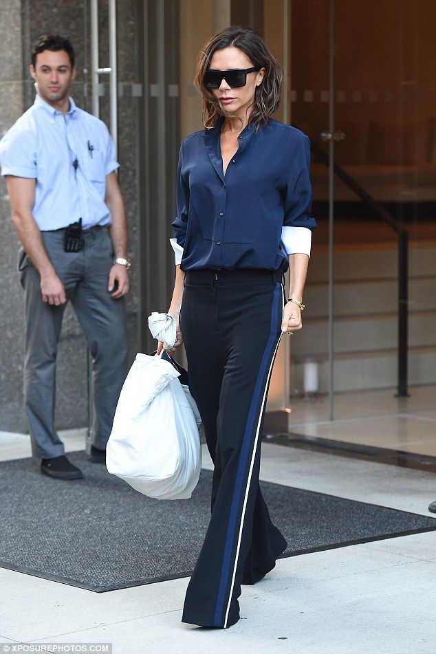 Always prepared:She'll be presenting her new collection for NYFW on Monday. So Victoria Beckham ensured she got an early start on Sunday to sort out the last minute preparations