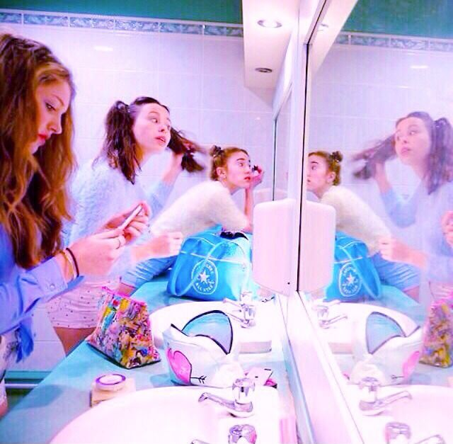 """""""Teen girls"""" doing their makeup in the bathroom, love this idea for a set."""