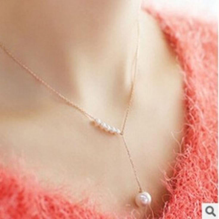 2016 European and American fashion jewelry new personality temperament simple short word imitation pearl necklace