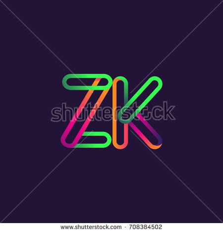 initial logo letter ZK, linked outline colorful rounded logotype.