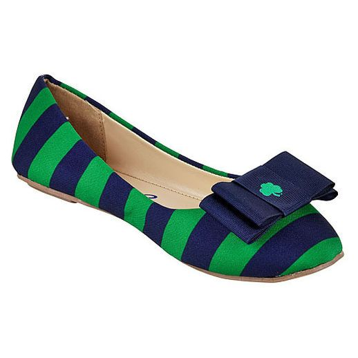 LillyBee U Notre Dame Fighting Irish Women's Removable Bow Flats