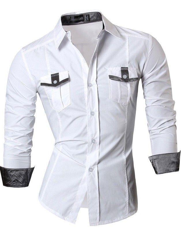 Camisa Juvenil Fashion con Detalles - Estilo Casual - en Azul Oscuro, Blanco y Negro - comprar online