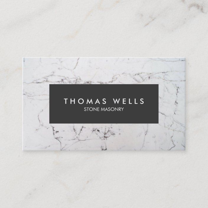 White Marble Stonemason Architect Business Card Design
