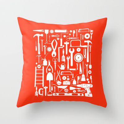 Tools Poster Tangerine Throw Pillow by CreativeNeesh - $20.00