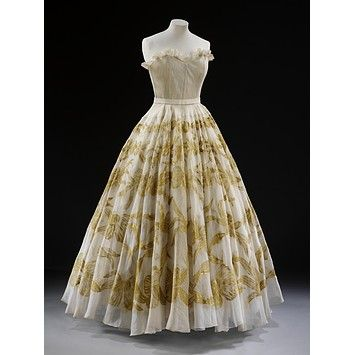 Date:  1949 (made)    Artist/Maker:  Marcelle Chaumont (designer)    Materials and Techniques:  Hand-painted organza, gathered and boned, organdie