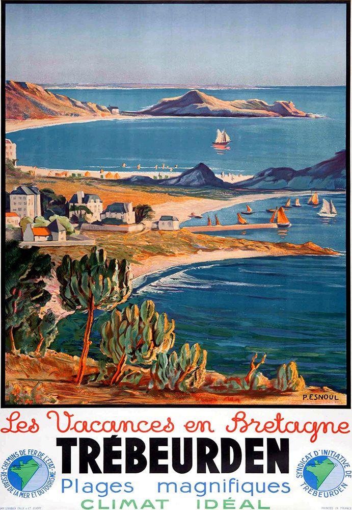 Affiche chemin de fer Etat - Trébeurden - Les vacances en Bretagne -