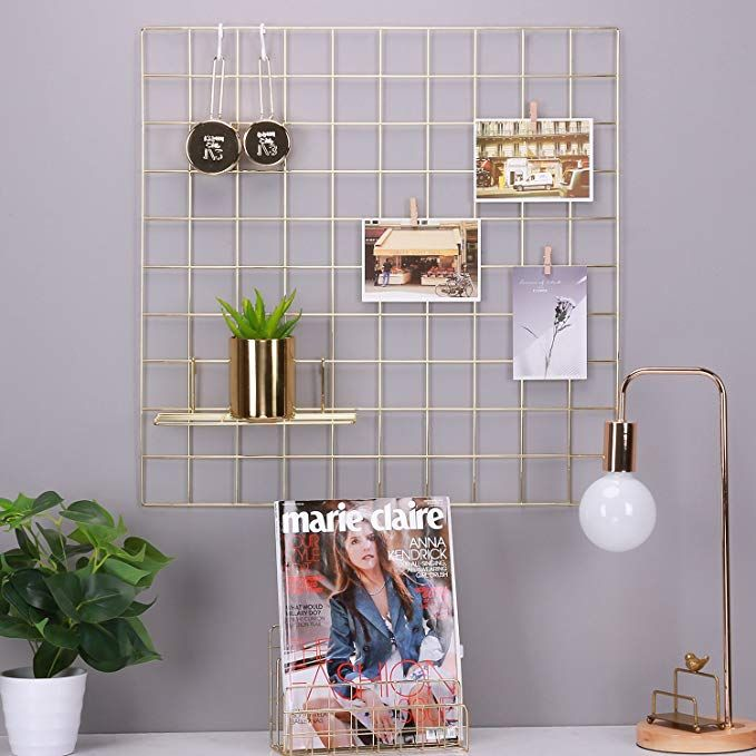 Simmer Stone Gold Wall Grid Panel For Photo Hanging Display Wall Decoration Organizer Multi Functional Wall Storage Dis Gold Walls Wall Storage Wall Display