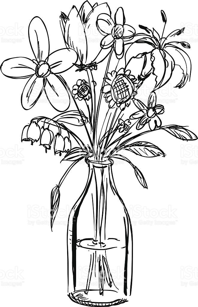 Clipart Black And White Flowers In A Vase Lovely Sketch A Bouquet Flowers In A Waterfilled Vase Stoc Flower Vase Drawing Black And White Flowers Flower Drawing