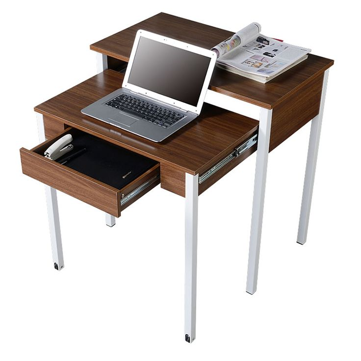 Retractable Student Desk with Storage Walnut by Techni Mobili - 1-800-460-0858 - Free Shipping - Office Furniture 2go.com