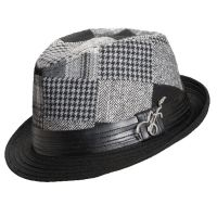 Carlos Santana Men's Leather and Polyester Fedora Hat. Pictured in Black. Fedora Hat Plaid Polyester with Leather Brim Guitar Detail Horizontal Crease One Size Fits Most Fits Like Medium Pinched Front on Both Sides This hat is available in small quantities for a short time.