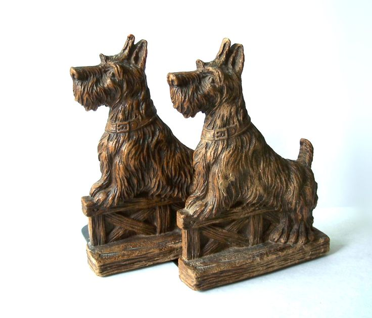 Vintage Scottie Dog Bookends Figurines Kitsch by MargsMostlyVintage on Etsy
