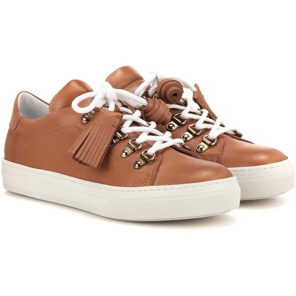Tod's Sportivo Leather Sneakers ($595) ❤ liked on Polyvore featuring shoes, sneakers, brown, brown leather sneakers, real leather shoes, brown leather shoes, brown leather trainers and tods sneakers