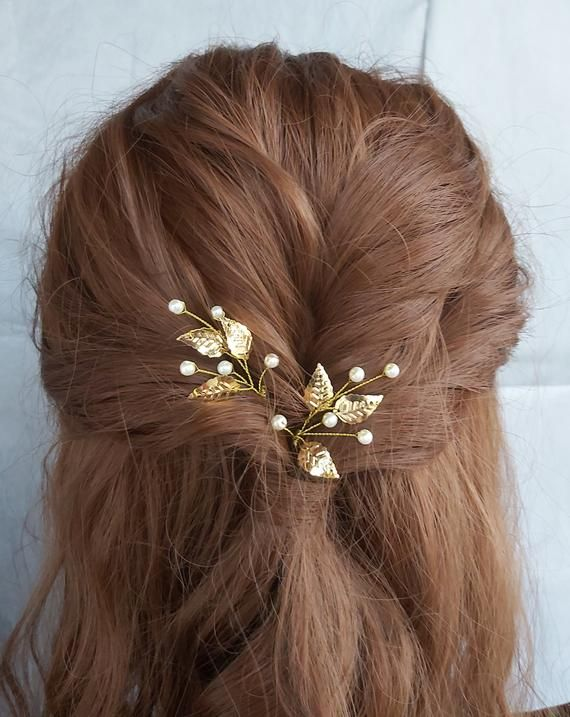 set of 5 little white/&gold flowers hair pin wedding hair accessories bridal jewellery hair comb