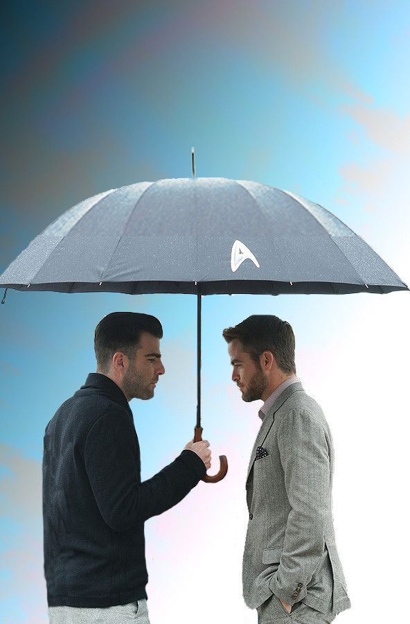 Zachary Quinto and Chris Pine share an umbrella || What is this? Is this some kind of romcon advert?