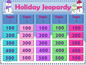 Jeopardy PowerPoint Game Winter Holiday Theme. You type in your own ...