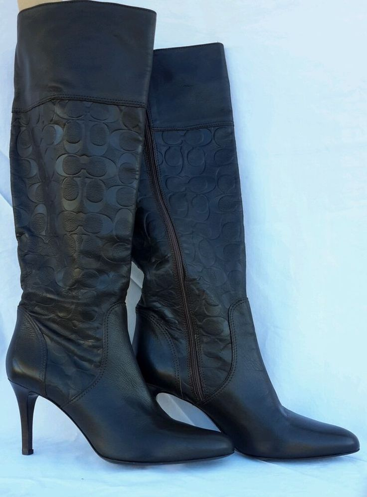 coach green logo embossed millie boots sz 10 b leather
