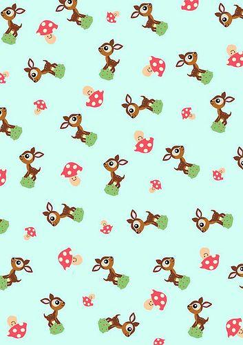FREE printable deer and mushroom pattern paper /// by babalisme, via Flickr